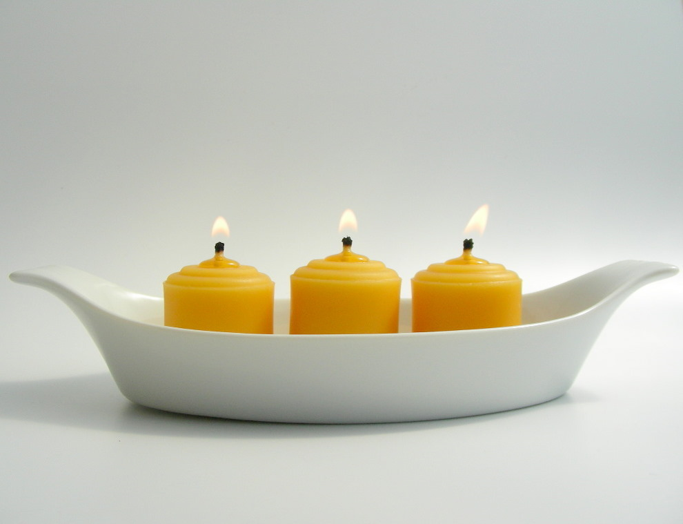 Burning Beeswax Votive Candles